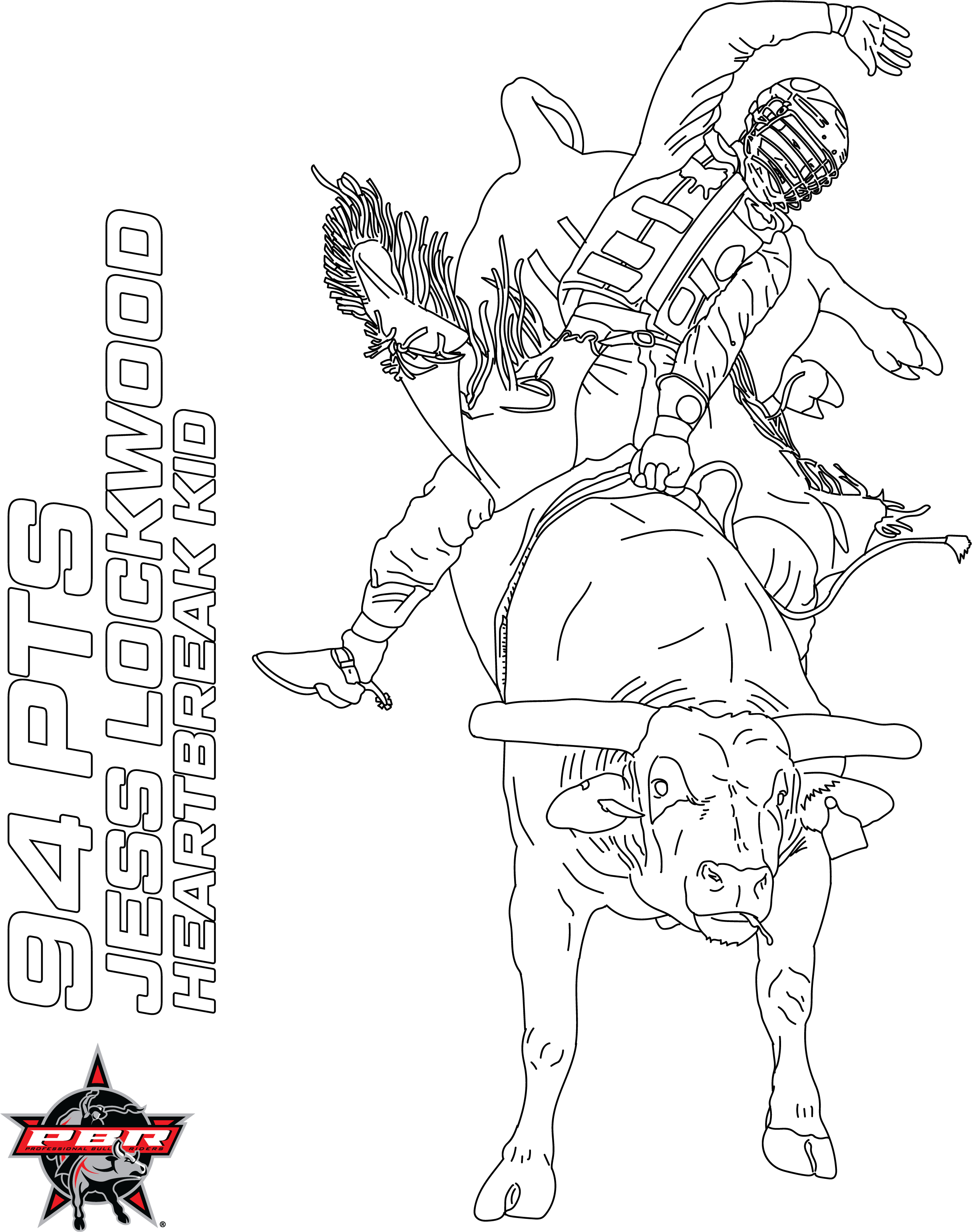 Bull Riding Rodeo coloring page | Free Printable Coloring Pages ... | 3084x2433